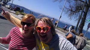 Enjoying the Alki promenade with my brother-in-law, Kevyn