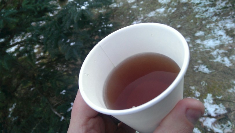 Warm cider is always on hand