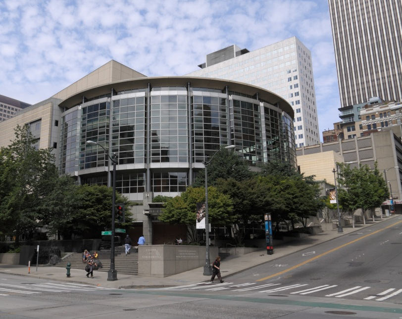 Benaroya Hall as seen from the corner of 2nd and University