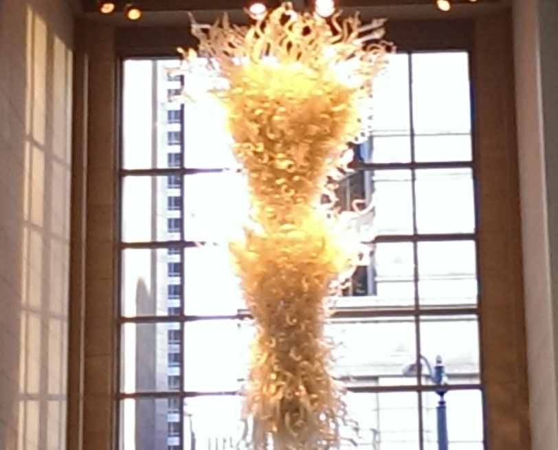 My somewhat blurry photo doesn't do this Chihuly chandelier justice!