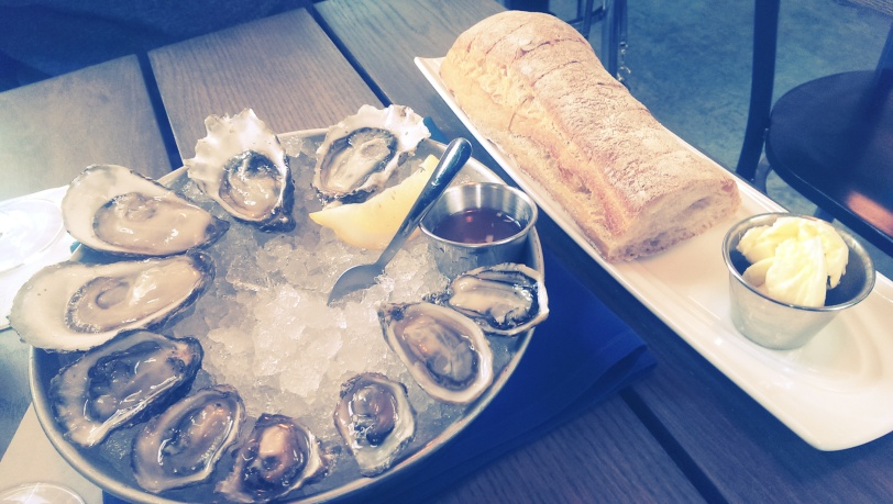 Oysters and a lovely Macrina Bakery baguette.