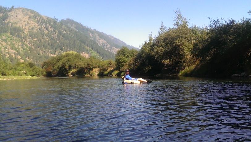 Jack floating along amazing scenery.