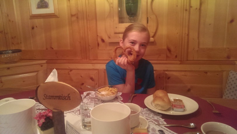 Erin, enjoying her breakfast pretzel