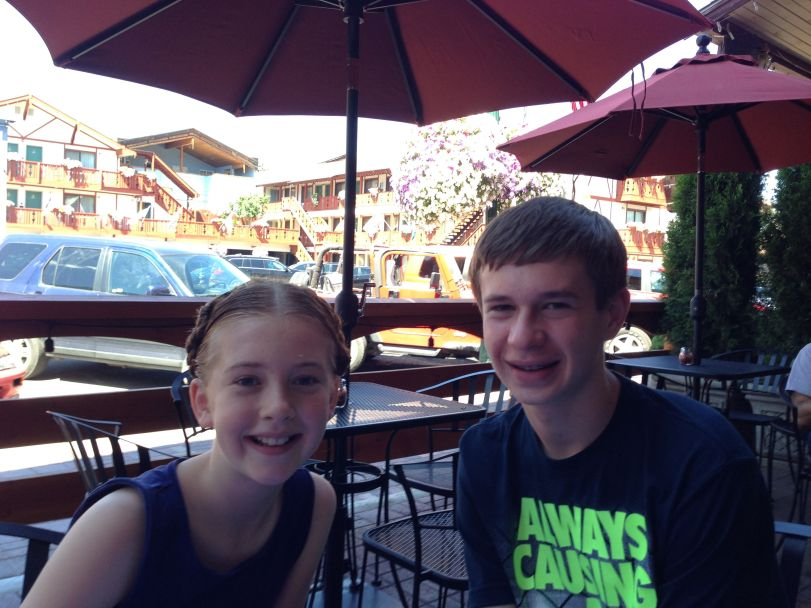 Jack and Erin (sporting Bavarian milkmaid braids!) at Idlewild Pizza.