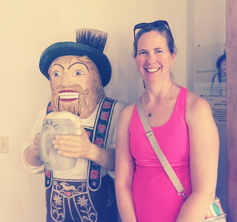 "Julie with near-life-size nutcracker ""Karl."""