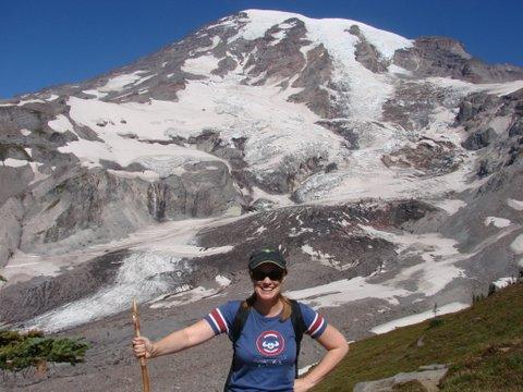 Rainier - Susan with hiking stick