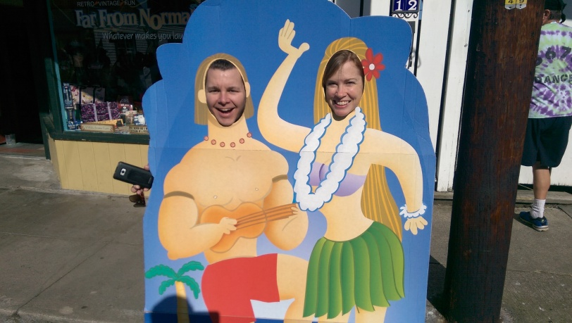 Chad and Susan as muscle man and hula girl