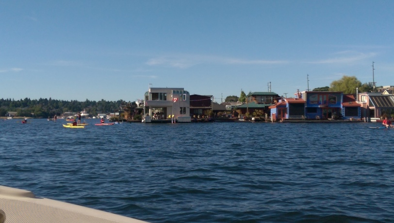 The floating homes along west Lake Union