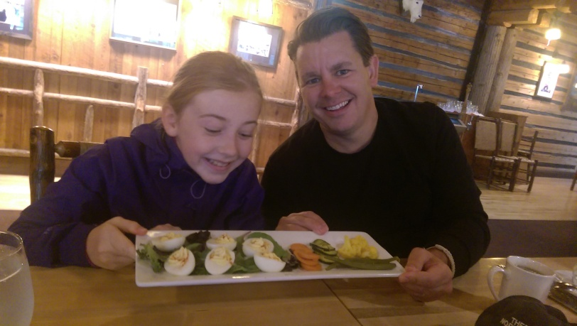 Erin and Chad enjoying some deviled eggs!