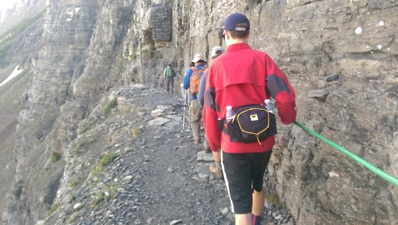 Walking the steep and narrow ridge trail.